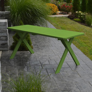 A & L Furniture Yellow Pine Crossleg Table – Size 6ft & 8ft Outdoor Tables 6ft / Lime Green / No