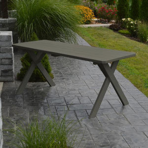 A & L Furniture Yellow Pine Crossleg Table – Size 6ft & 8ft Outdoor Tables 6ft / Olive Gray / No