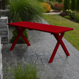 A & L Furniture Yellow Pine Crossleg Table – Size 6ft & 8ft Outdoor Tables 6ft / Tractor Red / No