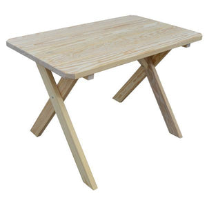 A & L Furniture Yellow Pine Crossleg Table – Size 6ft & 8ft Outdoor Tables 6ft / Unfinished / No