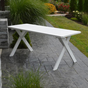 A & L Furniture Yellow Pine Crossleg Table – Size 6ft & 8ft Outdoor Tables 6ft / White / No