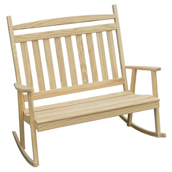 A & L Furniture Yellow Pine Double Classic Porch Rocker Rocker Chair Unfinished