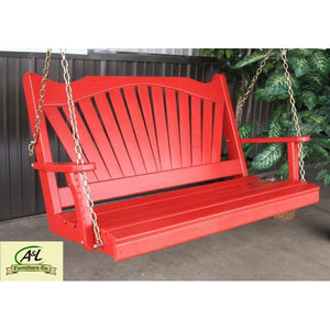 A & L Furniture Yellow Pine Fan Back Style Porch Swing Porch Swings 4ft / No / Unfinished