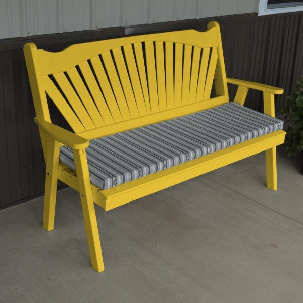 A & L Furniture Yellow Pine Fanback Garden Bench Garden Benches 4ft / Canary Yellow