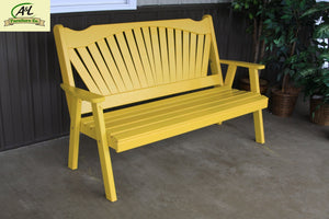 A & L Furniture Yellow Pine Fanback Garden Bench Garden Benches 4ft / Unfinished
