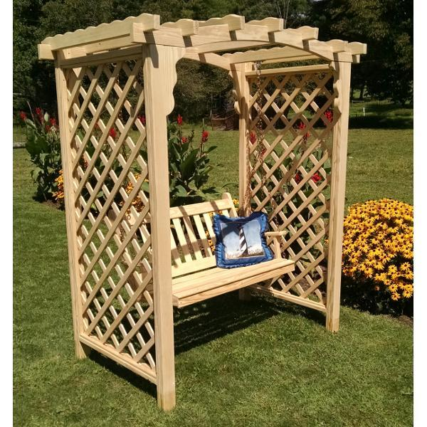 A & L Furniture Yellow Pine Jamesport Arbor & Swing Porch Swings 5ft / Unfinished