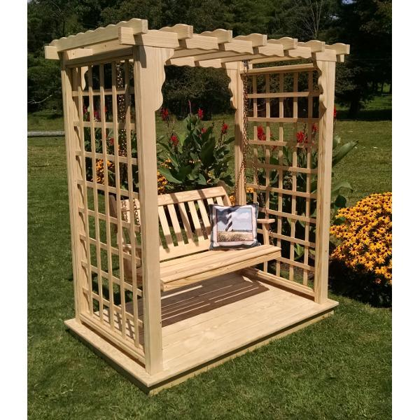 A & L Furniture Yellow Pine Lexington Arbor with Deck & Swing Porch Swings 5ft / Unfinished