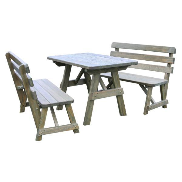 Astonishing A L Furniture Yellow Pine Picnic Table With 2 Backed Benches Onthecornerstone Fun Painted Chair Ideas Images Onthecornerstoneorg