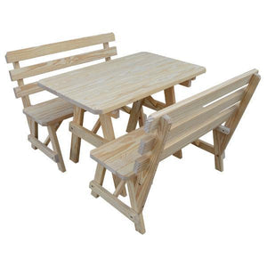 A & L Furniture Yellow Pine Picnic Table with 2 Backed Benches Picnic Table 4ft / Unfinished / No