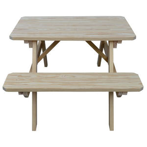 A & L Furniture Yellow Pine Picnic Table with Attached Benches Picnic Table 4ft / Unfinished / No