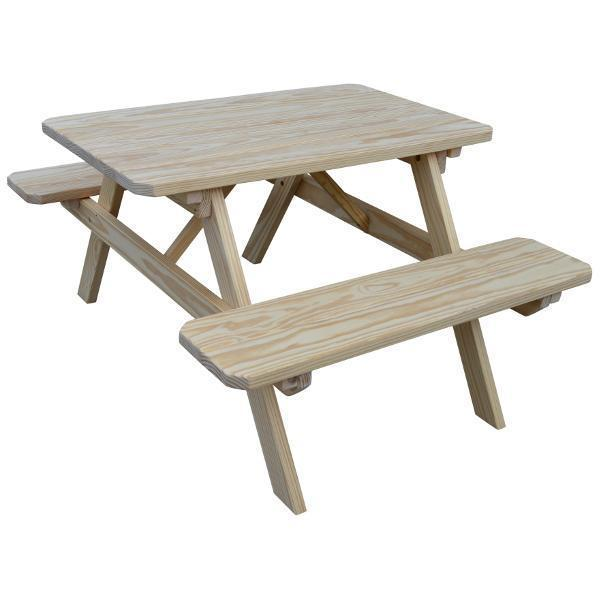 A & L Furniture Yellow Pine Picnic Table with Attached Benches Size 6ft and 8ft Picnic Table 6ft / Unfinished / No
