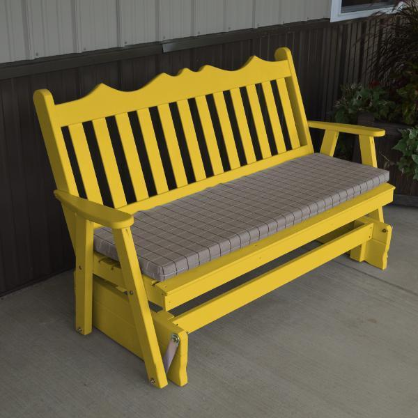 A & L Furniture Yellow Pine Royal English Deluxe Glider Gliders 4ft / Canary Yellow