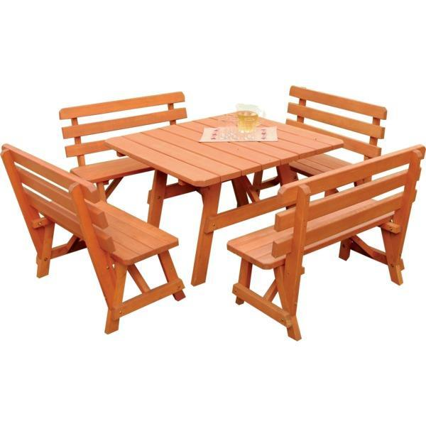 A & L Furniture Yellow Pine Square Picnic Table with 4 Backed Benches Picnic Table Unfinished / No