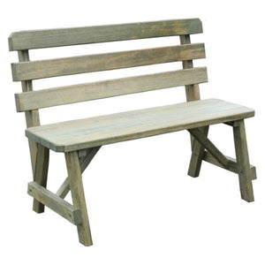 A & L Furniture Yellow Pine Traditional Backed Bench Garden Benches 2ft / Unfinished