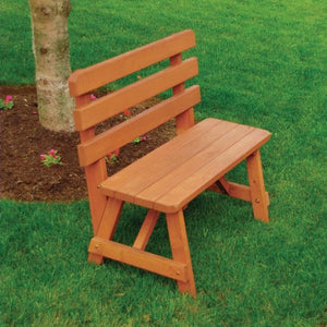 A & L Furniture Yellow Pine Traditional Backed Bench Size 5ft, 6ft, 8ft Garden Benches 5ft / Unfinished