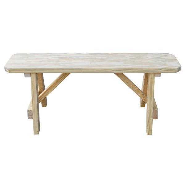 A & L Furniture Yellow Pine Traditional Bench Picnic Bench 2ft / Unfinished