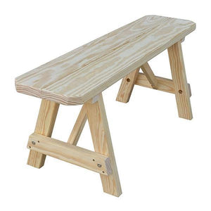 A & L Furniture Yellow Pine Traditional Bench – Size 5ft, 6ft, 8ft Picnic Bench 5ft / Unfinished