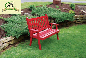 A & L Furniture Yellow Pine Traditional English Garden Bench Garden Benches 4ft / Unfinished