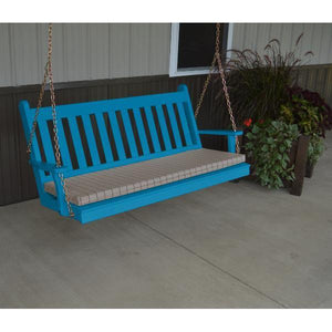 A & L Furniture Yellow Pine Traditional English Style Porch Swing Porch Swings 4ft / Caribbean Blue