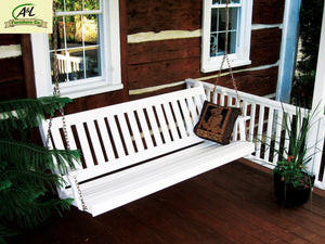 A & L Furniture Yellow Pine Traditional English Style Porch Swing Porch Swings 4ft / Unfinished
