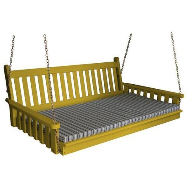 A & L Furniture Yellow Pine Traditional English Swing Bed Swing Beds 4ft / Unfinished / No