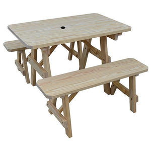 A & L Furniture Yellow Pine Traditional Picnic Table with 2 Benches – Size 6ft and 8ft Picnic Table 6ft / Unfinished / No