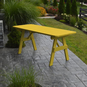A & L Furniture Yellow Pine Traditional Table Only – Size 4ft and 5ft Table 4ft / Canary Yellow / No