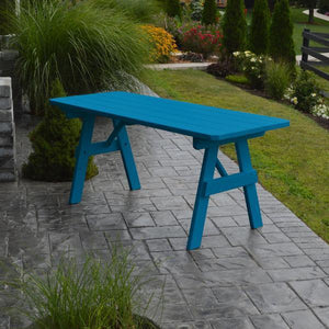 A & L Furniture Yellow Pine Traditional Table Only – Size 4ft and 5ft Table 4ft / Caribbean Blue / No