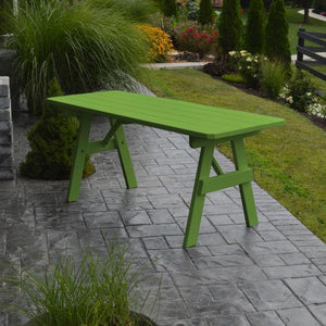 A & L Furniture Yellow Pine Traditional Table Only – Size 4ft and 5ft Table 4ft / Lime Green / No