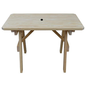 A & L Furniture Yellow Pine Traditional Table Only – Size 4ft and 5ft Table 4ft / Unfinished / No