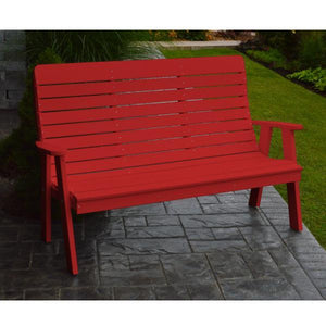 A&L Poly Color Samples Garden Bench 4ft / Bright Red
