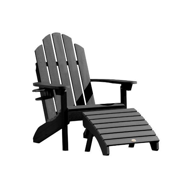 Adirondack Classic Westport Chair with Cup Holder & Folding Ottoman Chair/Ottoman/Cup-Holder combo set Black
