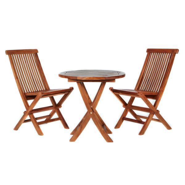 All Things Cedar 3-Piece Teak Bistro Table Set table