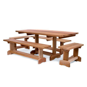 All Things Cedar 5-Piece 6' Market Table Set Dining Bench Sets No