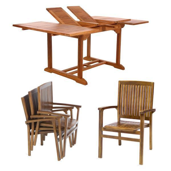 All Things Cedar 5-Piece Butterfly Stacking Chair Set & Cushion dining set No Cushion