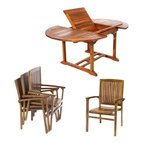 All Things Cedar 5-Piece Oval Stacking Chair Set & Cushion dining set No Cushion