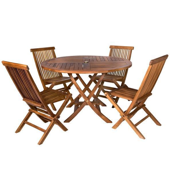 All Things Cedar 5-Piece Round Folding Table Set & Cushions dining set No Cushion