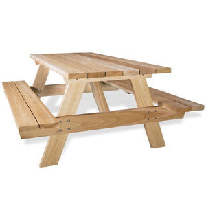 All Things Cedar 6 ft Picnic Table with Attached Benches Picnic Table