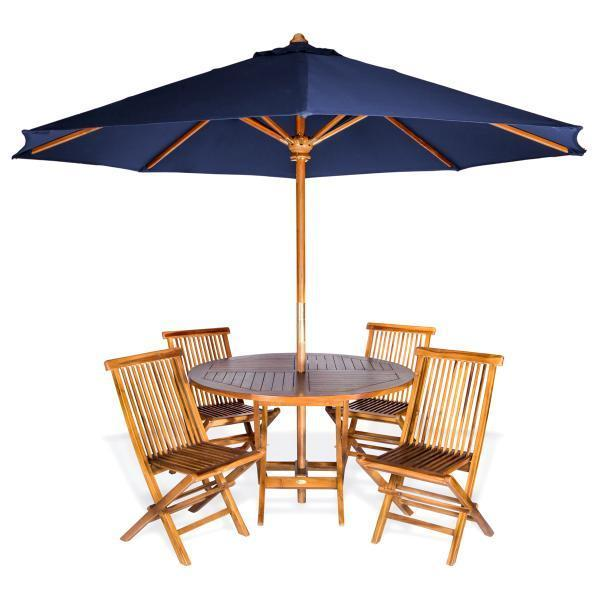 All Things Cedar 6-Piece Round Folding Table Set & Umbrella dining set Blue