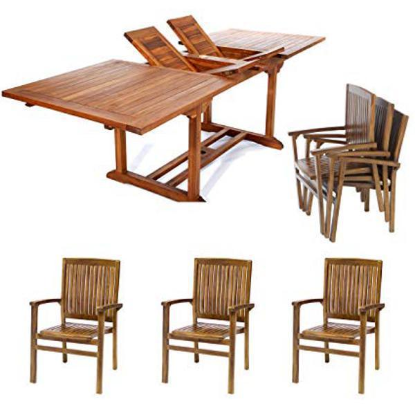 All Things Cedar 7-Piece Rectangle Stacking Chair Set & Cushion dining set No Cushion