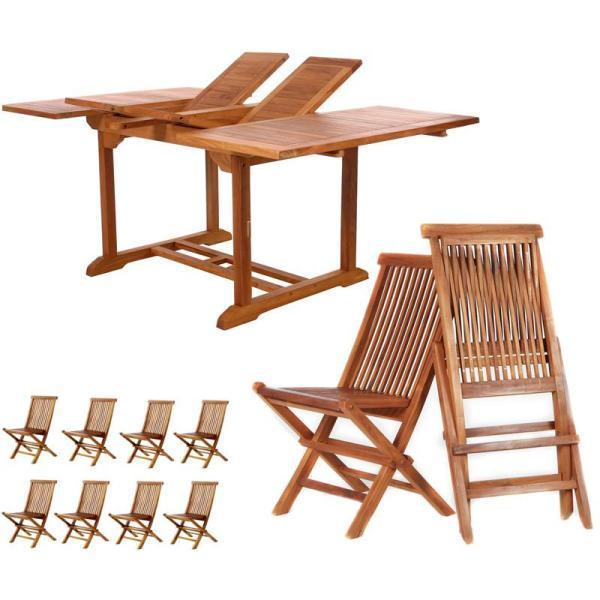 All Things Cedar 9-Piece Butterfly Folding Chair Set & Cushion dining set No Cushion