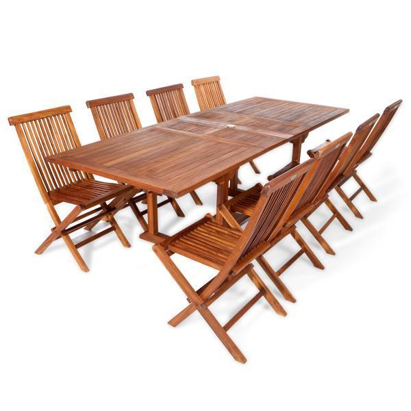 All Things Cedar 9-Piece Rectangle Folding Chair Set & Cushion dining set No Cushion