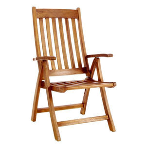 All Things Cedar Teak 5 Position Folding Arm Chair Outdoor Chairs