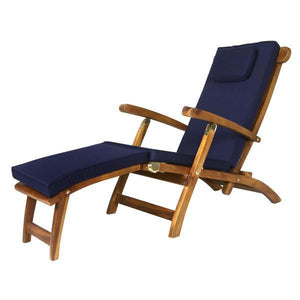 All Things Cedar Teak Java Finish 5 Position Steamer Chair & Cushion Outdoor Chairs Blue