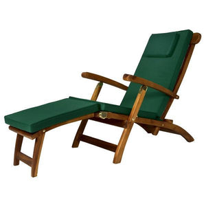 All Things Cedar Teak Java Finish 5 Position Steamer Chair & Cushion Outdoor Chairs Green
