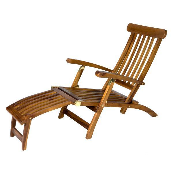 All Things Cedar Teak Java Finish 5 Position Steamer Chair & Cushion Outdoor Chairs No Cushion