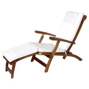 All Things Cedar Teak Java Finish 5 Position Steamer Chair & Cushion Outdoor Chairs White