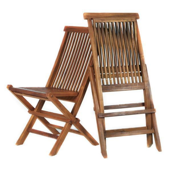 All Things Cedar Teak Java Finish Folding Chair Set & Cushion Outdoor Chairs No Cushion