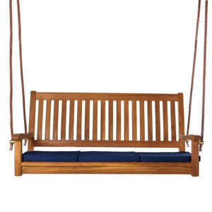 All Things Cedar Teak Porch Swing with Cushion Porch Swings Blue