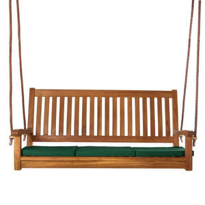 All Things Cedar Teak Porch Swing with Cushion Porch Swings Green
